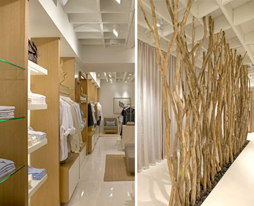 Oak shelving and dectorative sticks for clothing store displays