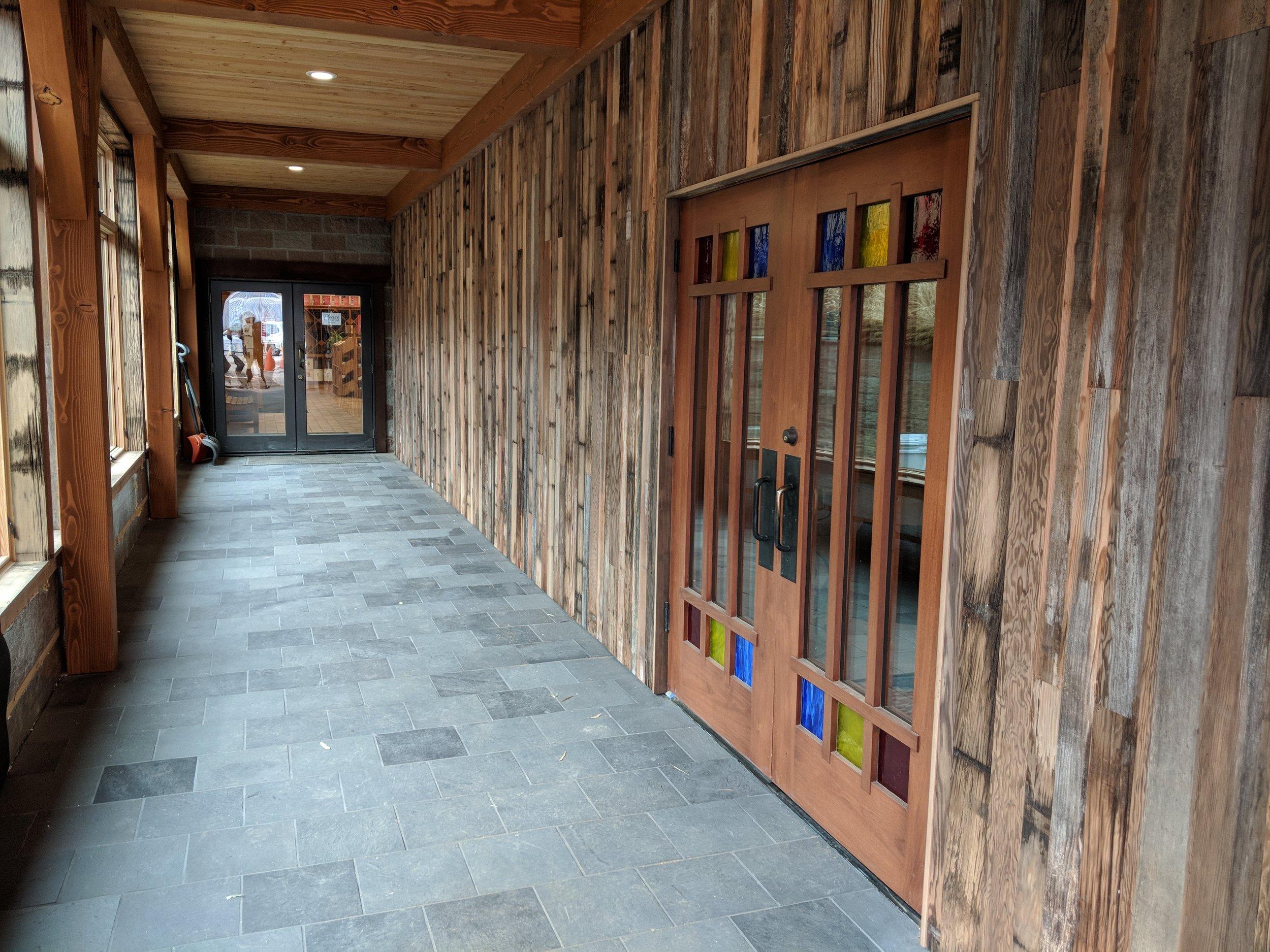 Mahogany door with custom glasswork