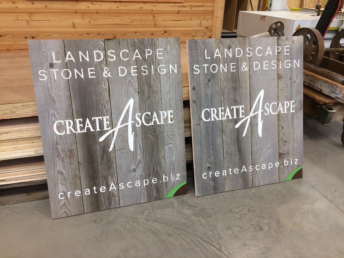 Custom a-frame signs for a landscape company