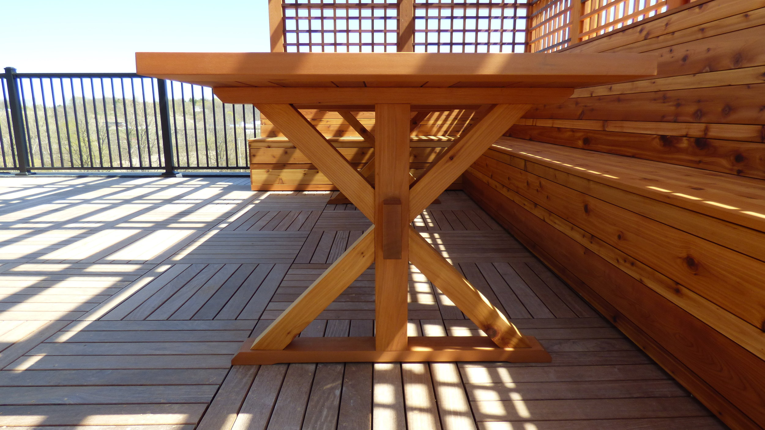 Outdoor table detail for a rooftop deck
