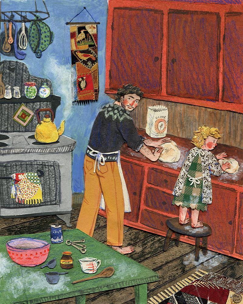 Bread.  Watercolor, collage, colored pencil. Phoebe Wahl 2014.
