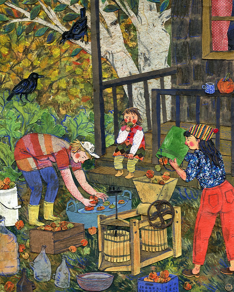 Cider Pressing.  Watercolor, collage, colored pencil. Phoebe Wahl 2014.