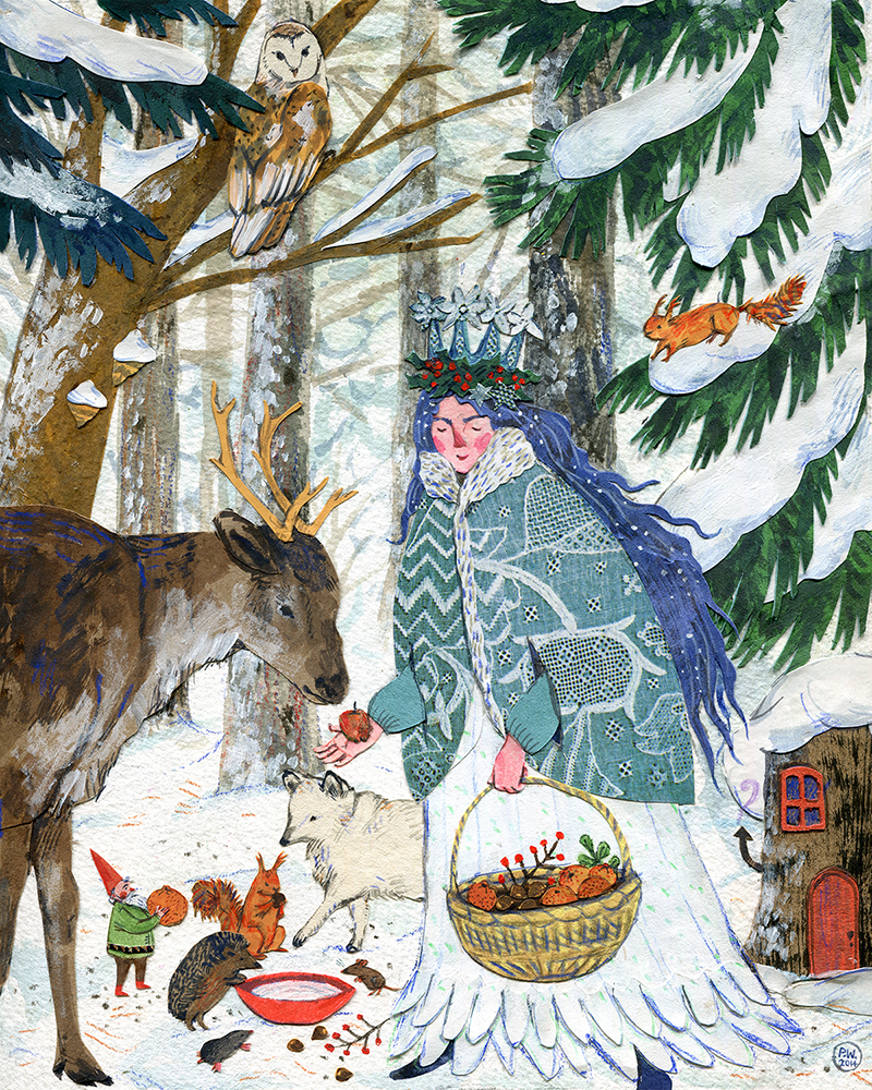 Lady Winter.  Watercolor, collage, colored pencil. Phoebe Wahl 2014.