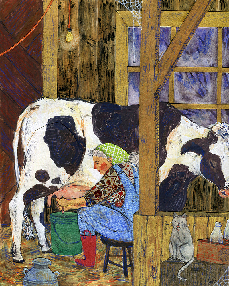 Morning Milk.  Watercolor, collage, colored pencil. Phoebe Wahl 2014.