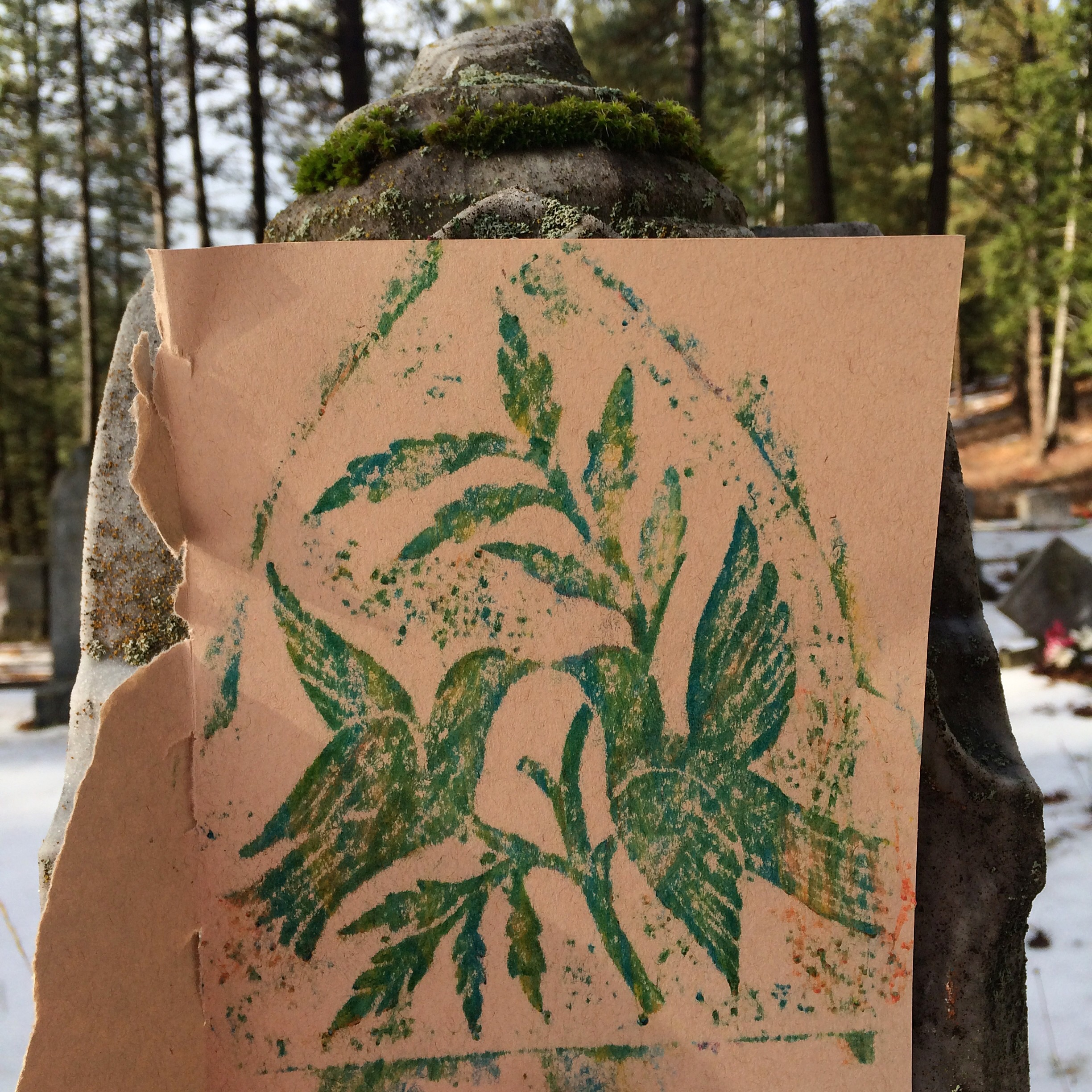 Making rubbings of gravestones on a recent trip to Roslyn, WA