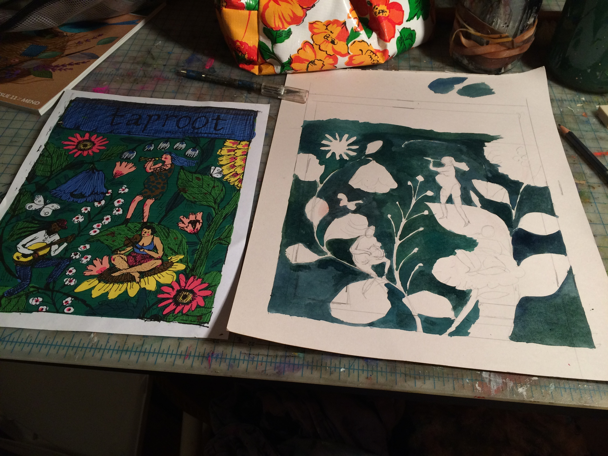The sketch for the cover, on the left, and the final in progress on the right.