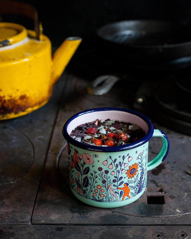 Flower Maidens enamel mug