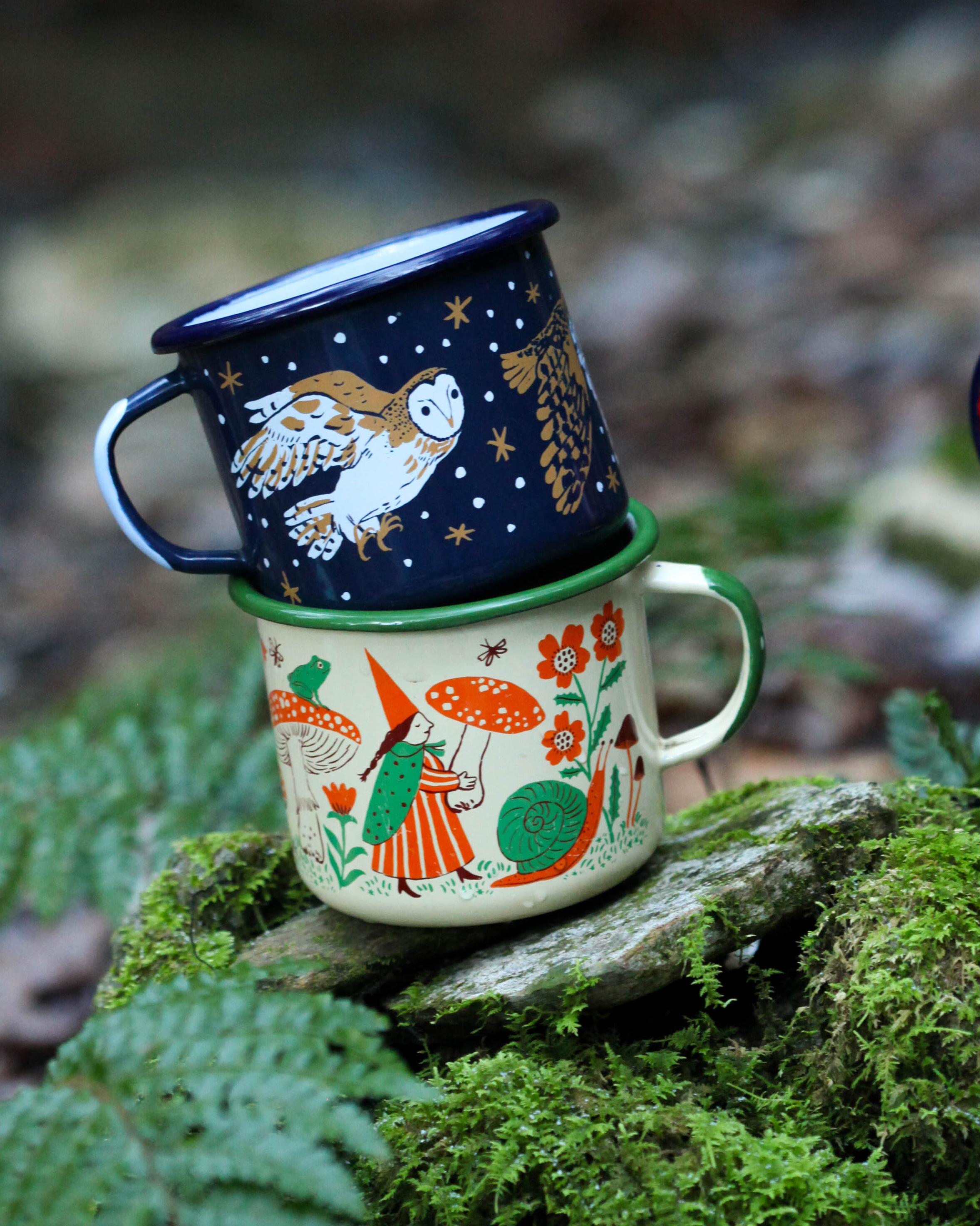 Night Owl & Gnomes mugs