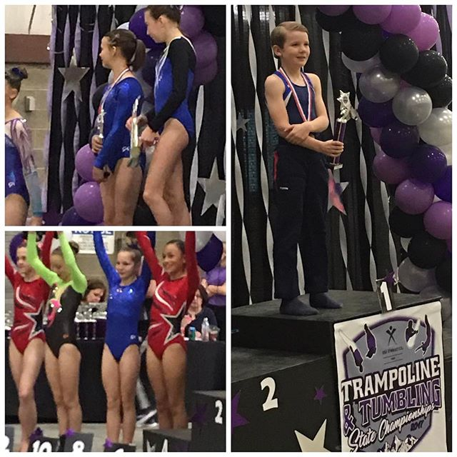 Congratulations to our TNT athletes! Rachel , Eliza and Torin had an amazing state meet. Torin is  the Level 6 11-12 yr old Tumbling champion!! Way to go GTC!