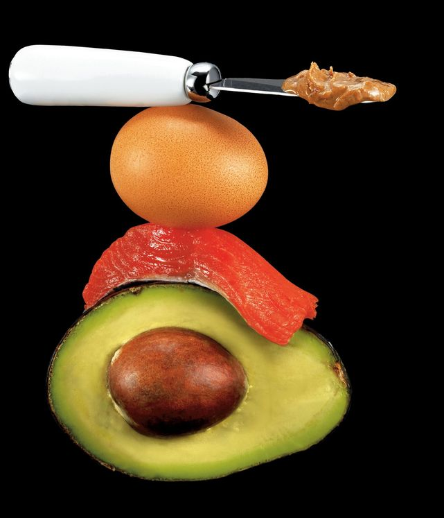 Healthy fat foods avocado,salmon, egg, peanut butter -  Ultimate Health Personal Trainer Hollywood