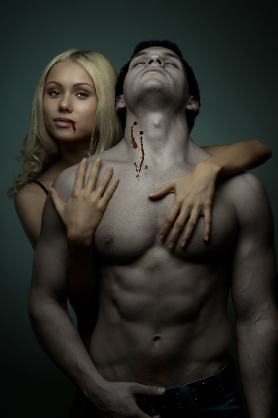 Female Vampire with fit male victim. Ultimate Health Personal Training Center Hollywood, CA.
