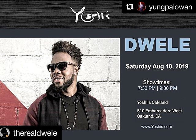 Hitting at @yoshis_oak with @therealdwele and the band!!! It has been way too long, and I'm lookin forward to the show! Come thru if you're in Oakland!! Shows at 7:30 and 9:30 . . . #Repost @yungpalowan with @get_repost ・・・ If ur goin to @therealdwele at @yoshis_oak u might catch @ajanik07  and urs truly holdin down the horns ✨