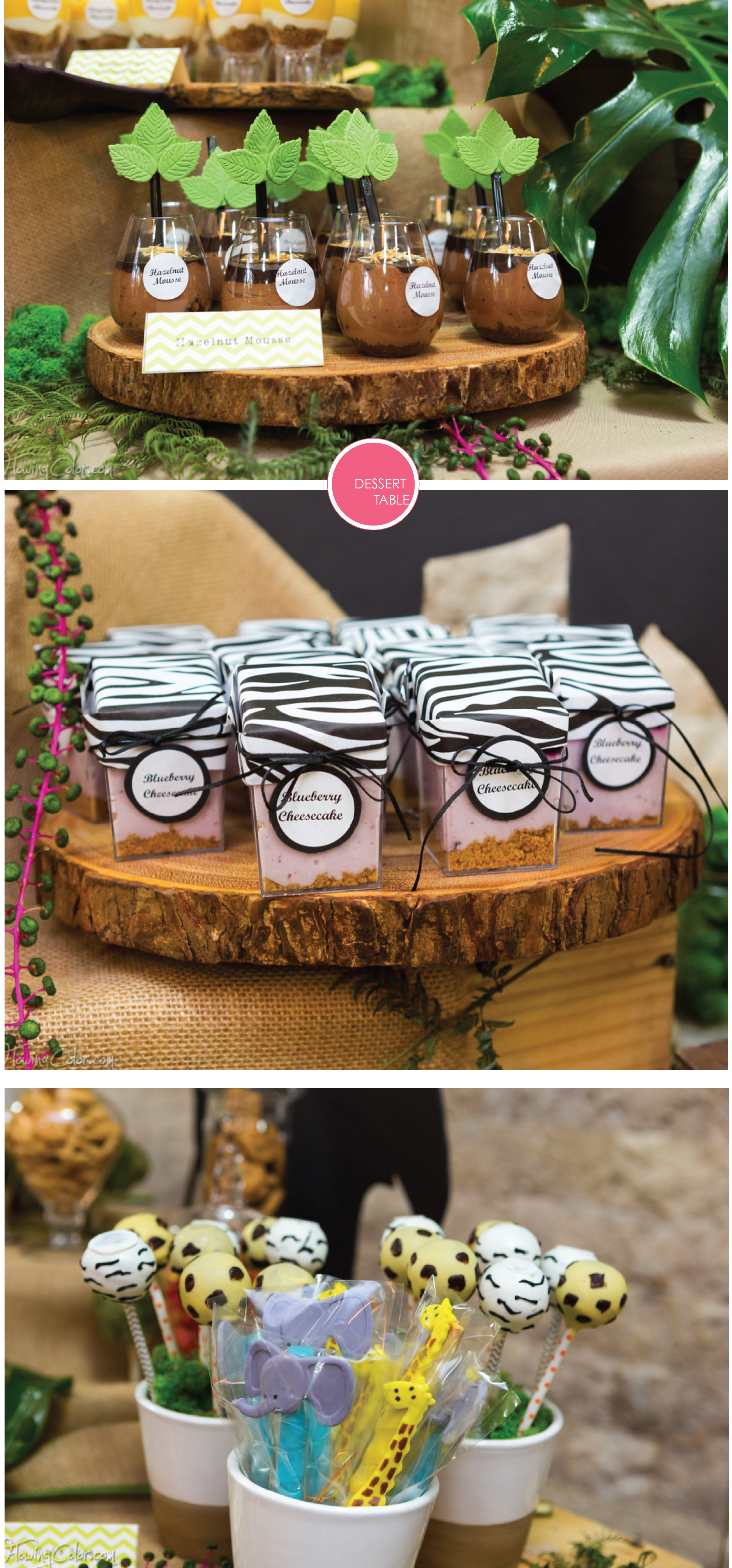 Red Velvet Cake Pops, Chocolate Covered Pretzels, Blueberry Cheesecake, Hazelnut Mousse
