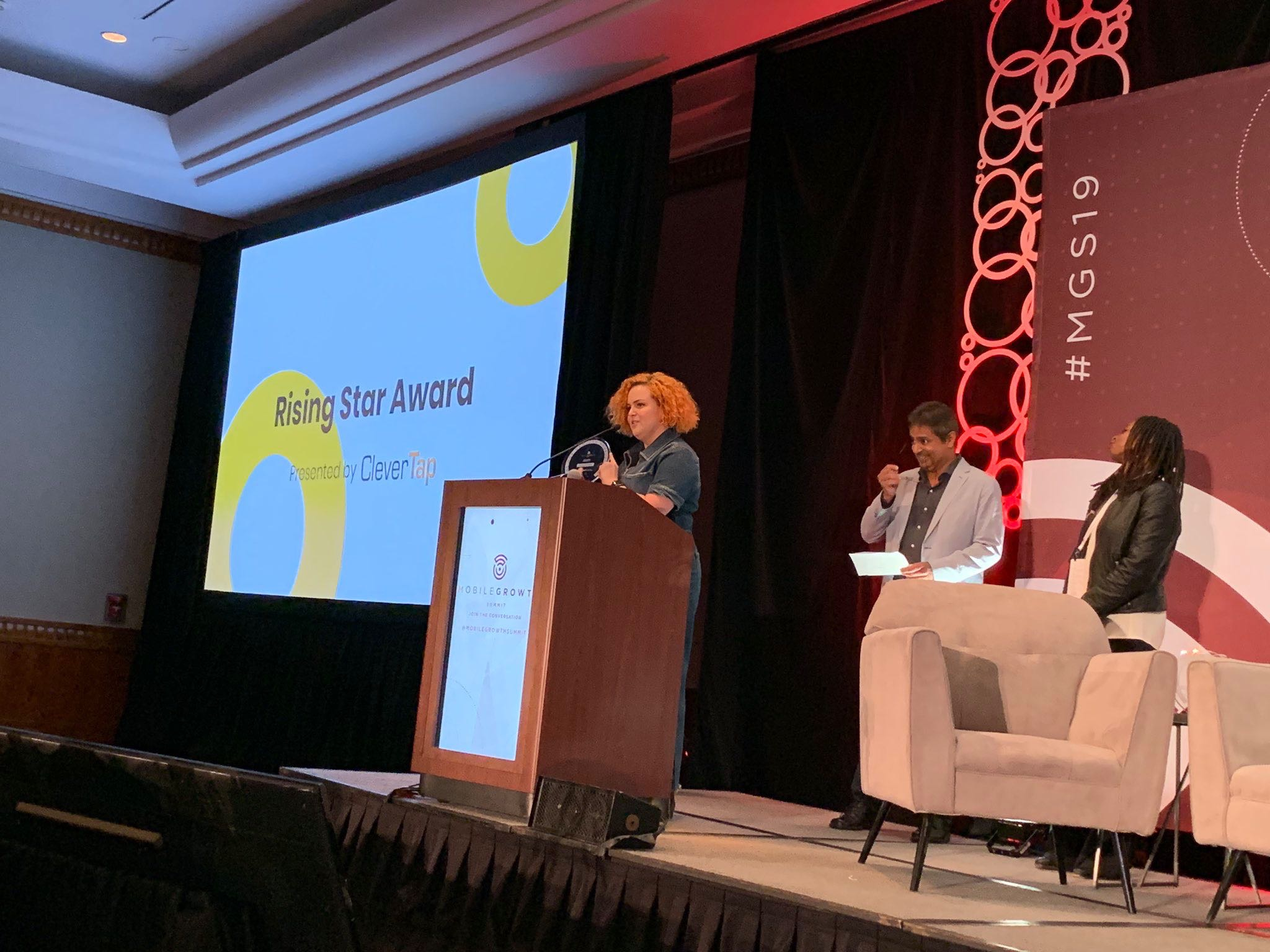 Seen here accepting mBolden's first ever Rising Star Award at Mobile Growth Summit SF 2019