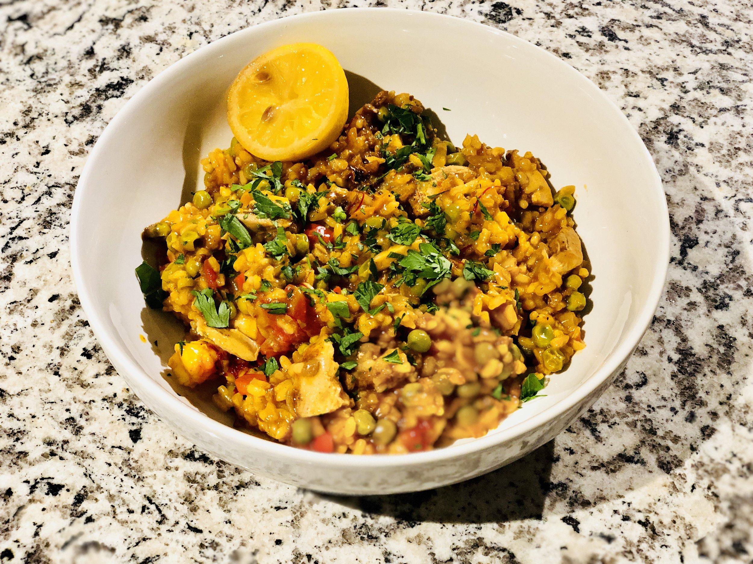 Saffron Shrimp and Chicken Thigh Paella Erica Bethe Jewtalian.jpg