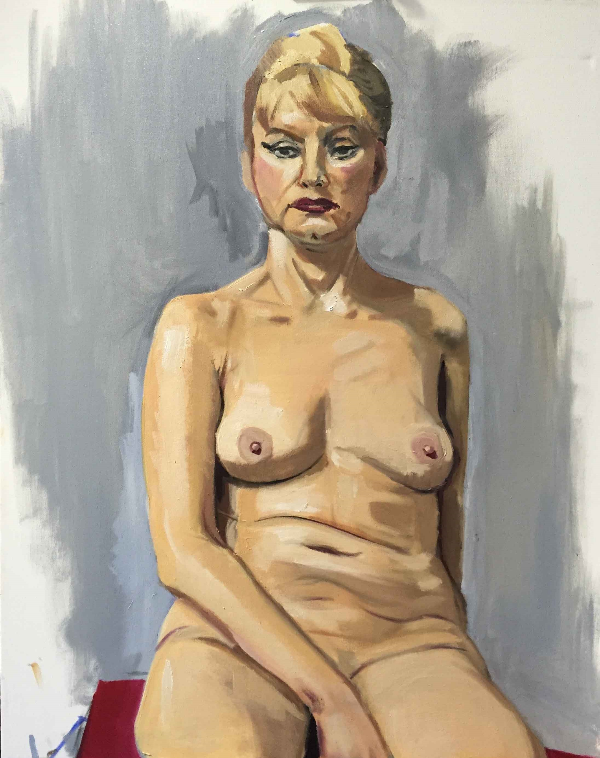 """Vexed Nude Study,  2016,oil on canvas 24x30"""""""