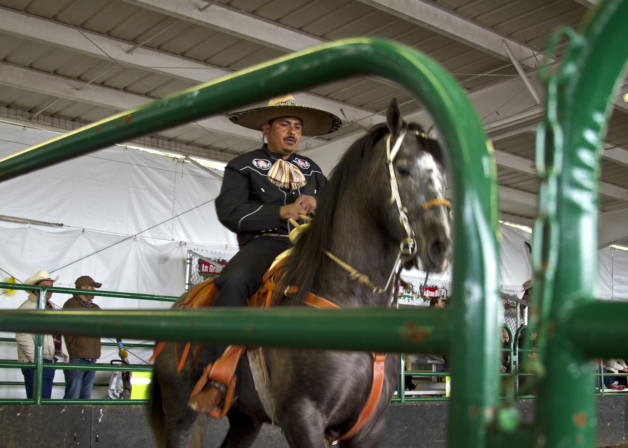 A rider completes his introductory lap prior to a trick riding show at the 2013 Puyallup Spring Fair.