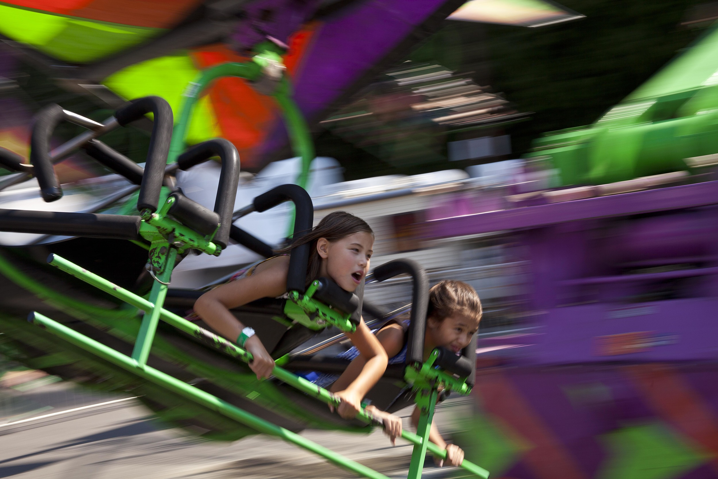 Children enjoy a ride at the 2014 Washington State Fair.