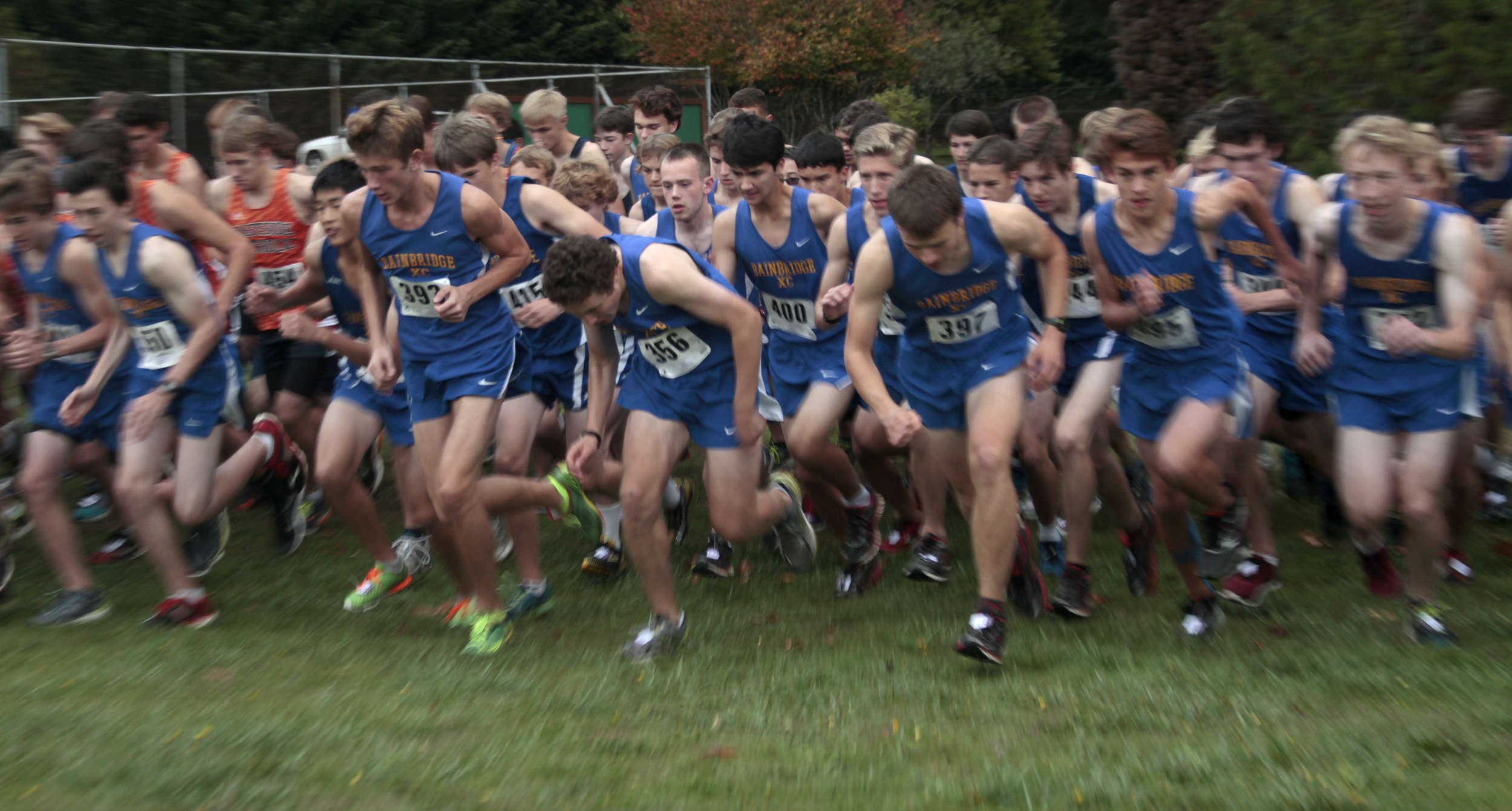 The start of the mens event at the sole home meet of the Bainbridge High cross country team's last season. BHS took first place in both the mens and womens divisions, beating out runners from Eastside Catholic, Franklin and Chief Sealth