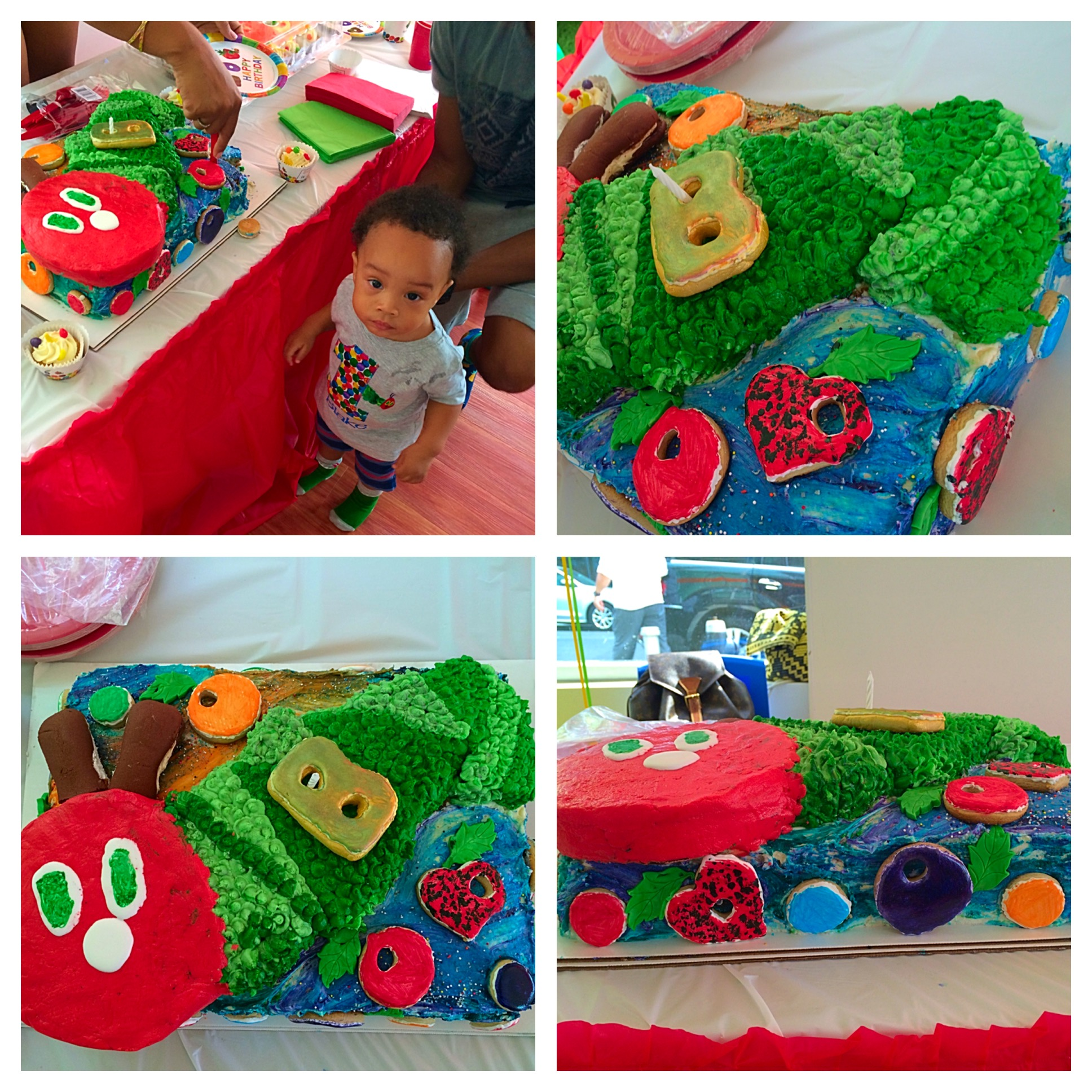 Custom Hungry Caterpillar cake | 1/2 sheet cake, carved out Caterpillar, Letter B and Fruits made of sugar cookies, No all butter cream no fondant | $250