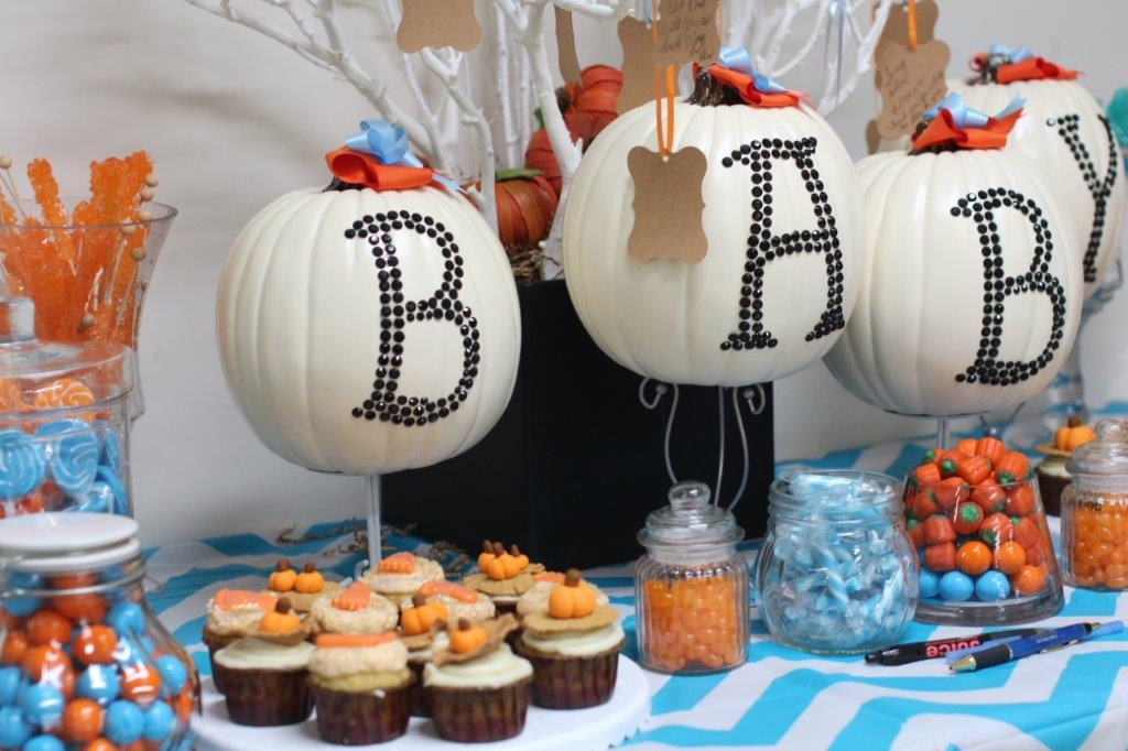 Baby Shower Fall Pumpkin Cupcake, Cookies, & Candy spread for 50 with decor $500