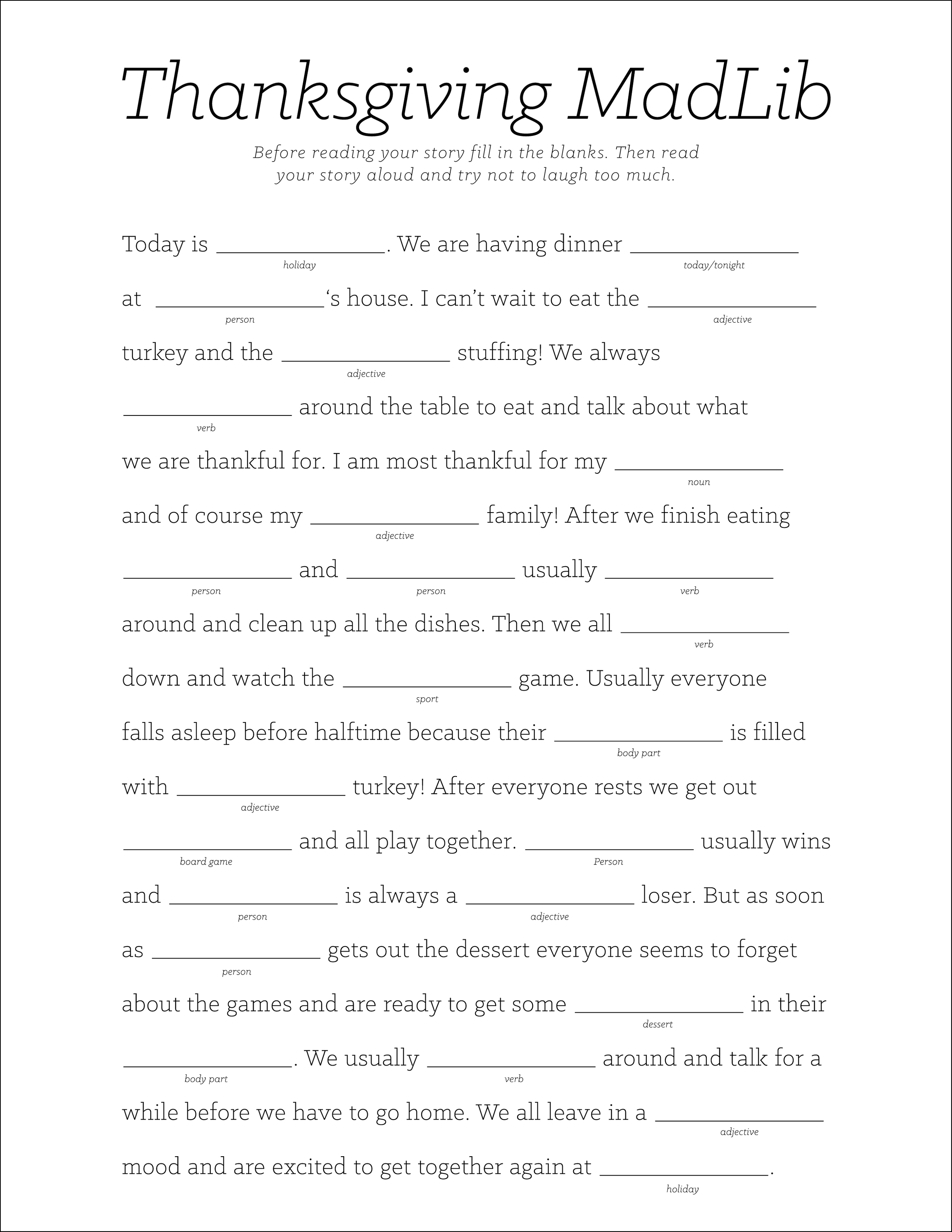 Thanksgiving MadLib (click through to download)