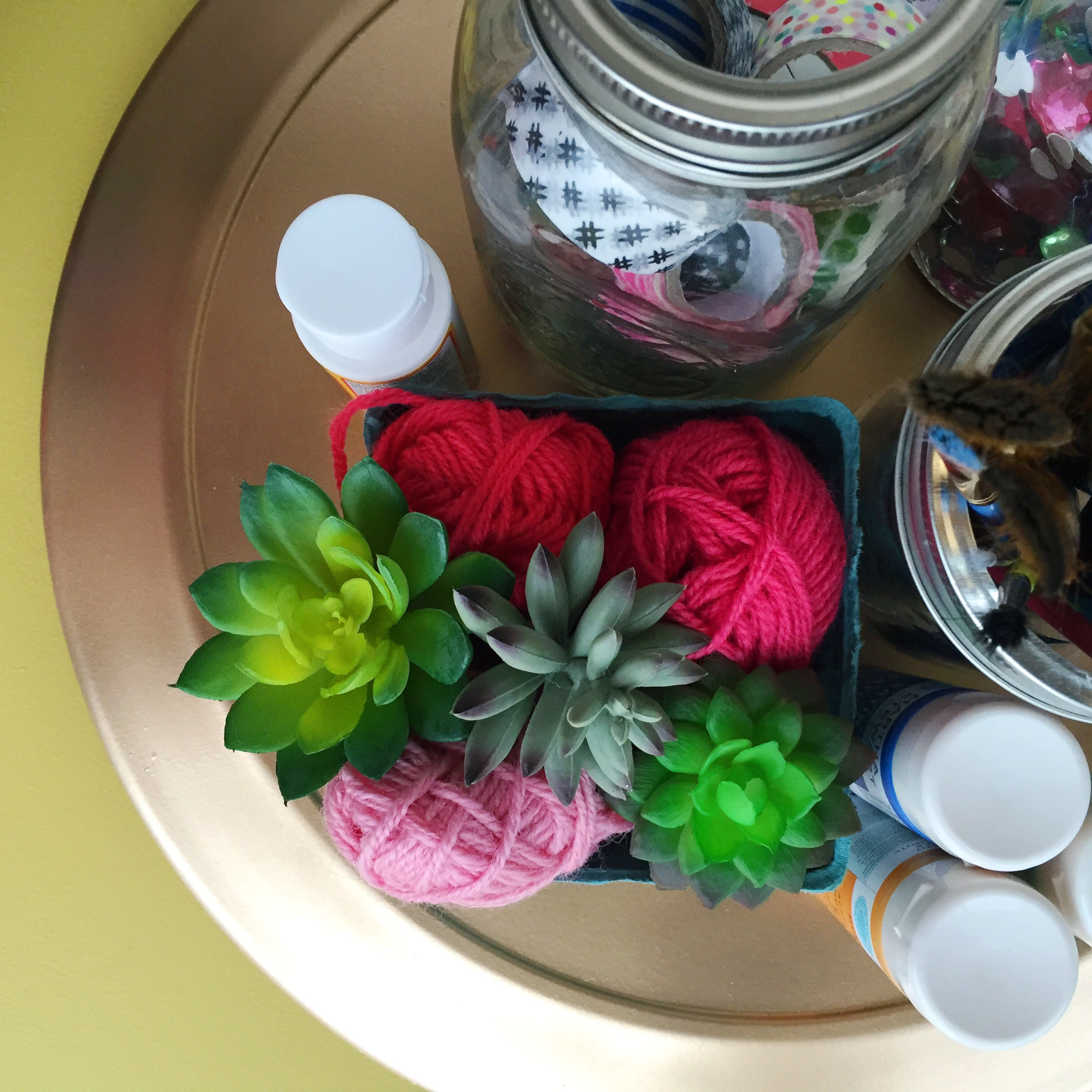 Thrifted lazy susan revamped for keeping frequently used craft supplies handy