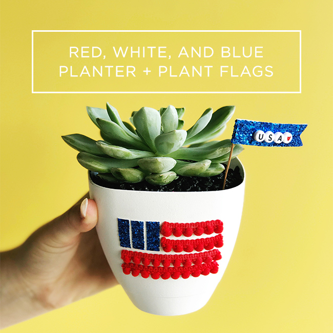Red, White, and Blue Planter + Plant Flags | My Only Sunshine