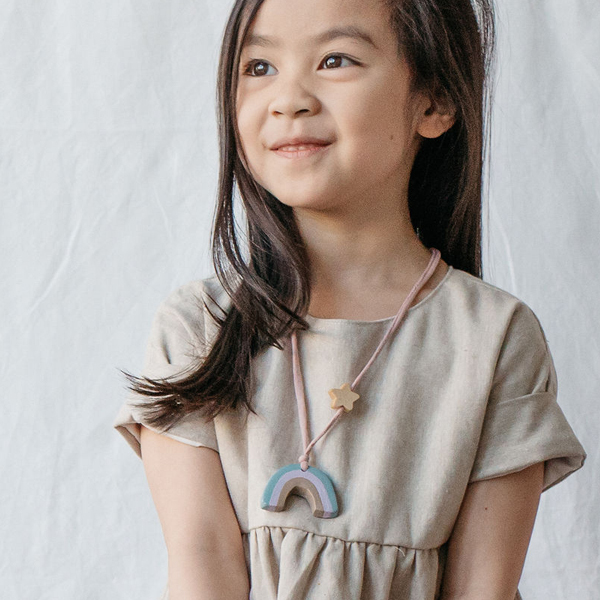 coral and cloud rainbow kids necklace