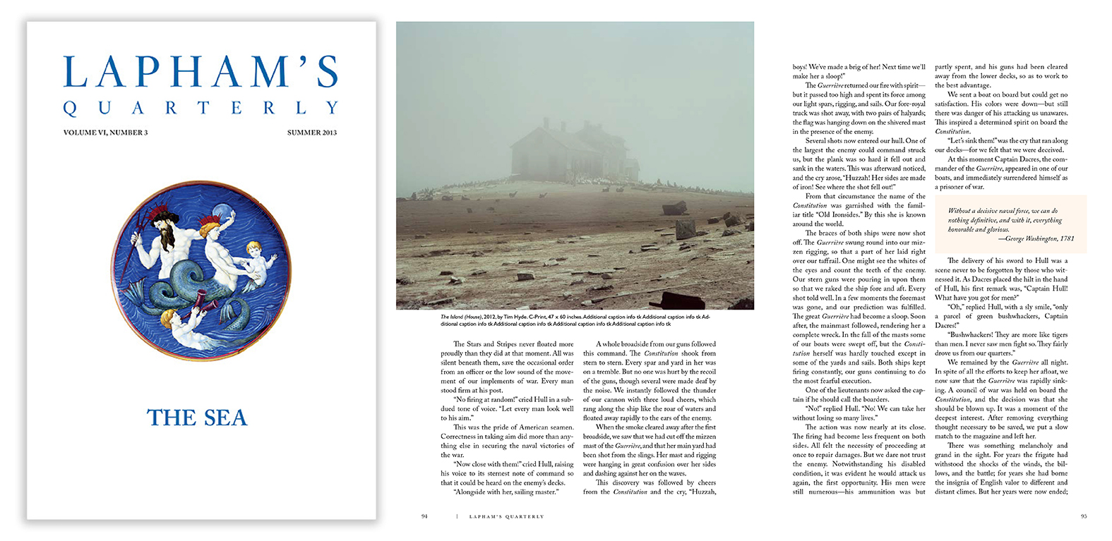 """The Sea"", Lapham's Quarterly Vol. VI, 2013. Photo by Tim Hyde."