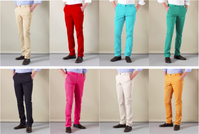 Bold colours and in a slimmer cut.