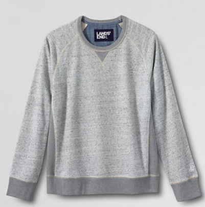 Lands' EndLong Sleeve French Terry Gray Crewneck