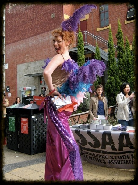 Showgirl roving and distributing flyers at Swinburne University