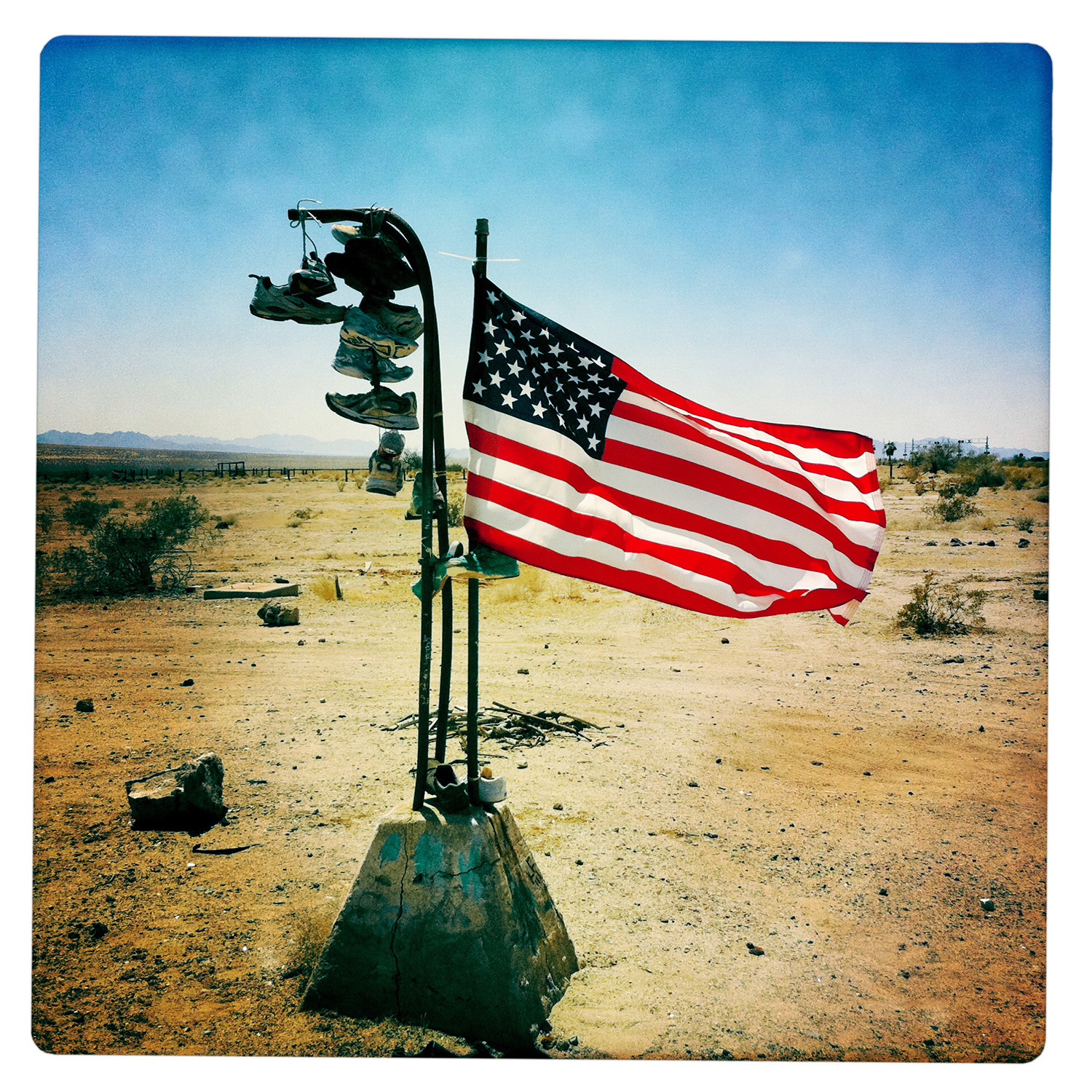US Flag with Shoes along Desert Center Road California