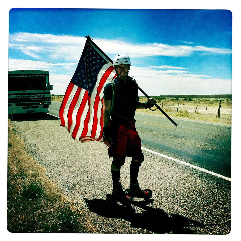 The Freedomskater on the Road outside of Van Horn TX Texas
