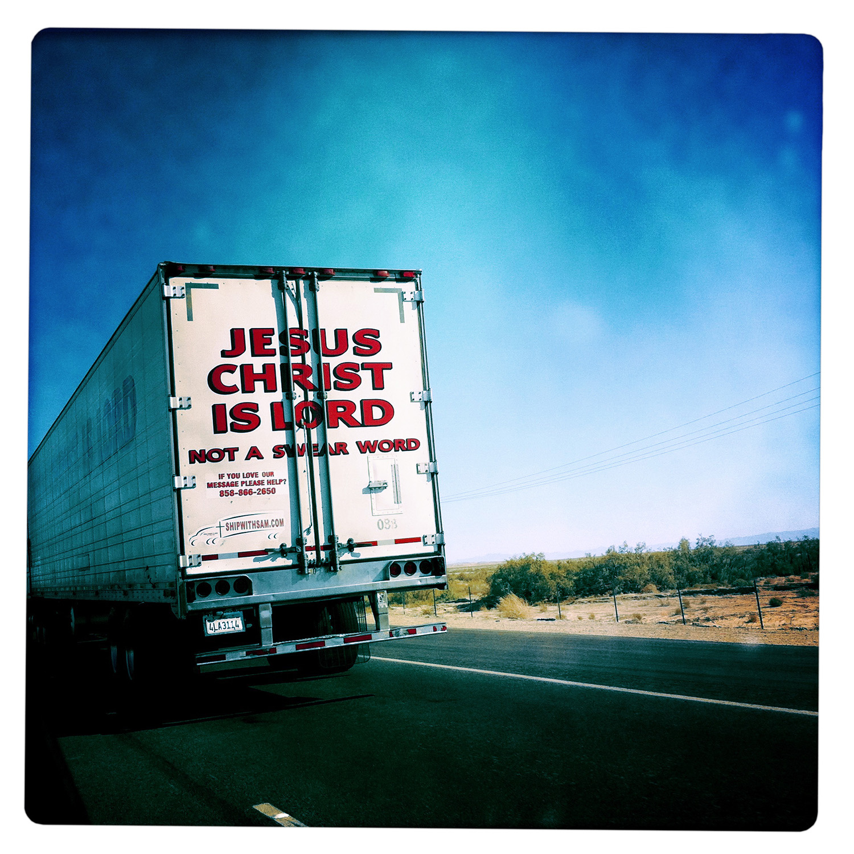 Christ is Lord Truck near Salton Sea CA California