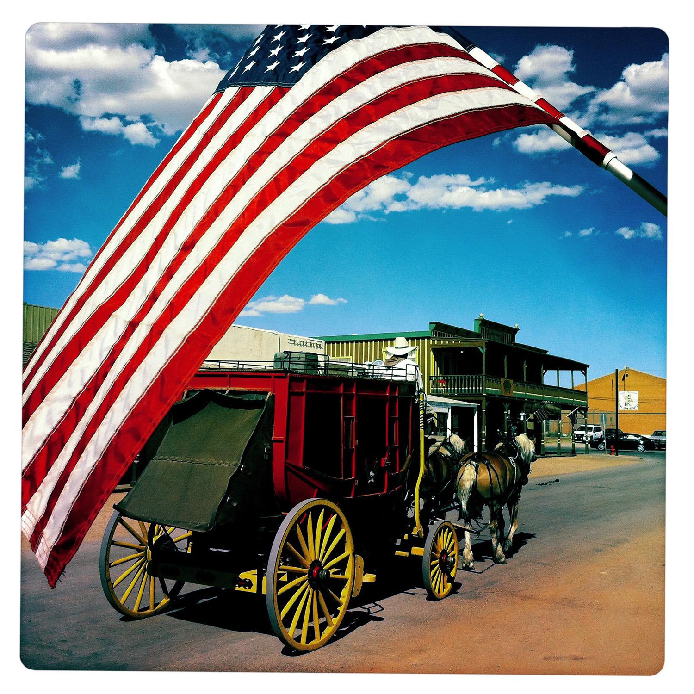 Coach under Flag in Tombstone AZ Arizona