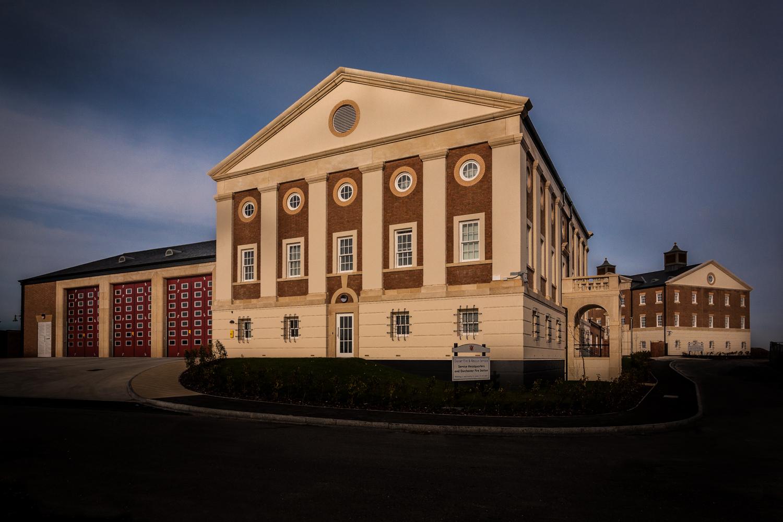 Dorchester Fire Station and DFRS HQ, Poundbury, Dorset, by architectural photographer Rick McEvoy
