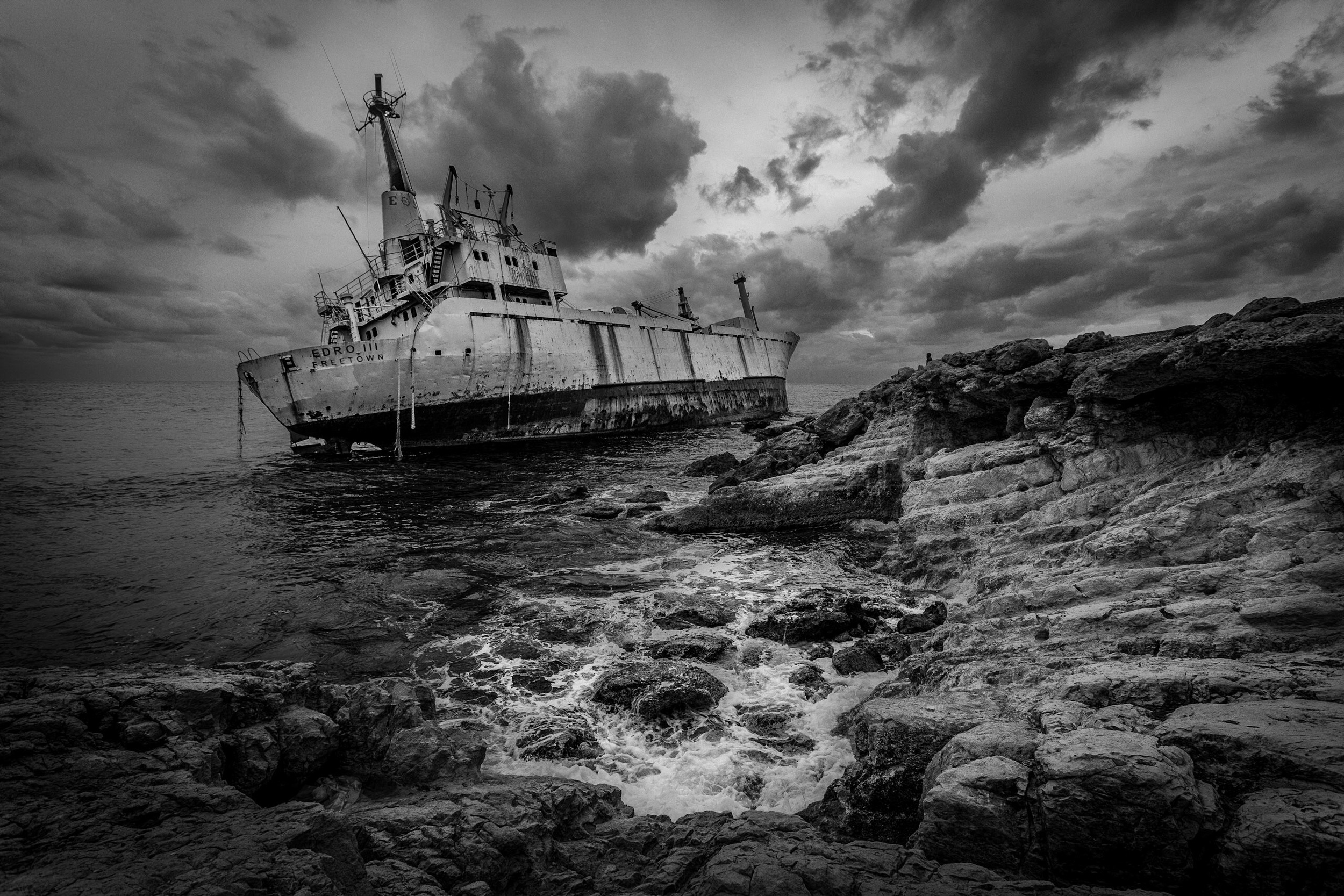 Shipwreck, Cyprus - black and white conversion using Nik Sikver Efex Pro