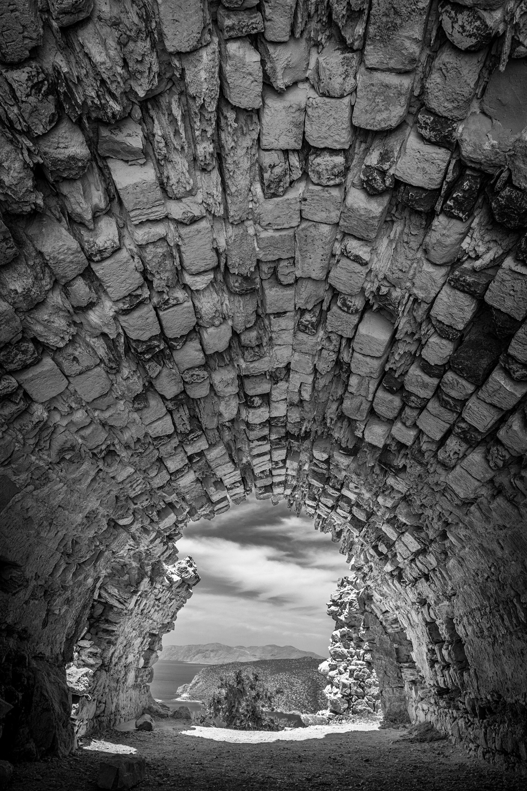 Monolithos Castle - black and white architectural photography