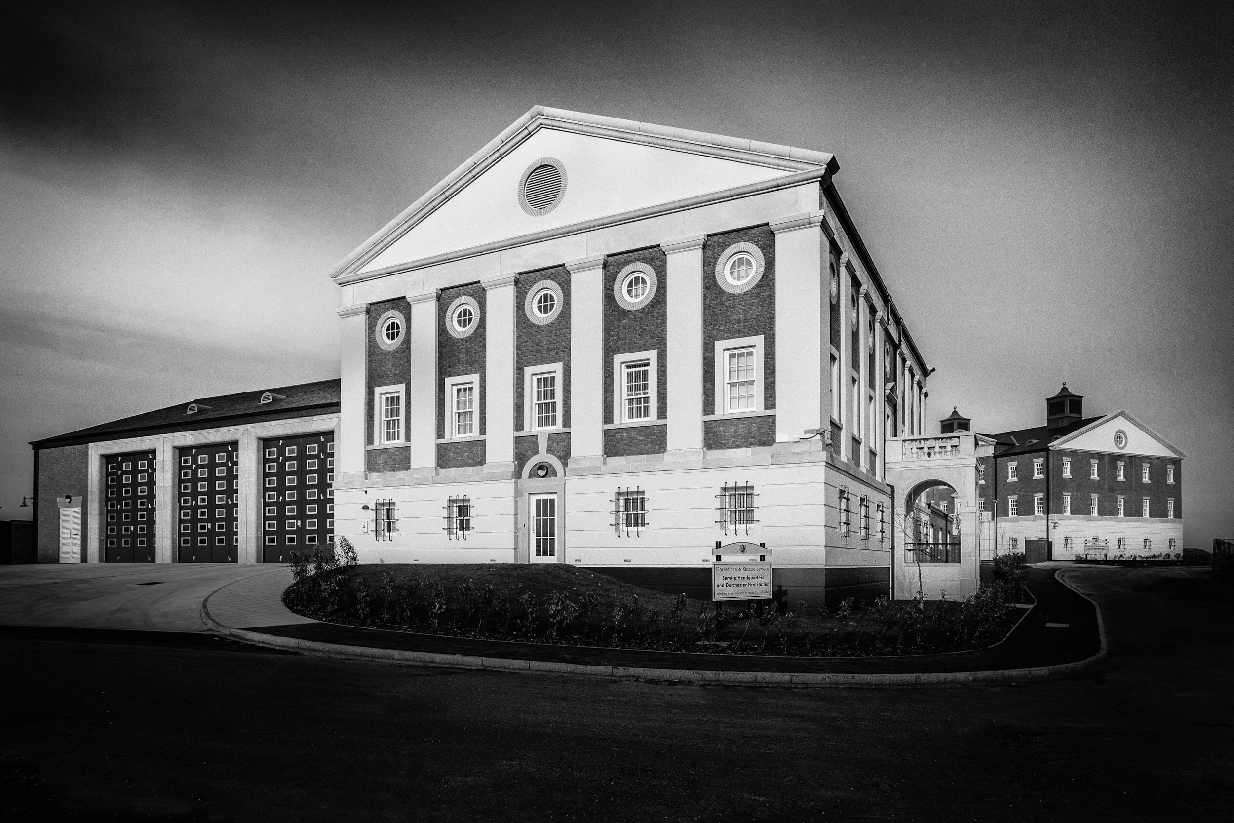 Black and white picture of the Dorchester Fire Station and HQ Building