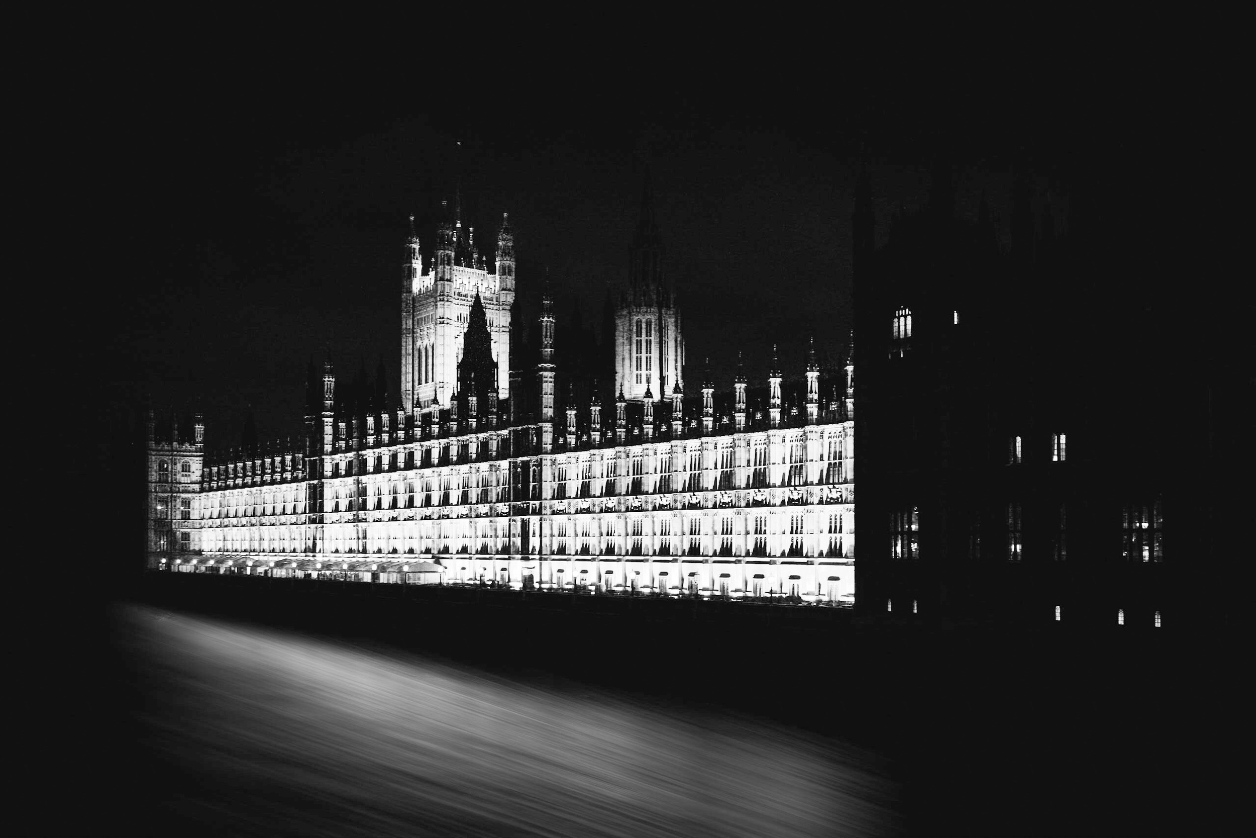 Black and white pictue of the Palace of Westminster at night by Rick McEvoy London Photographer