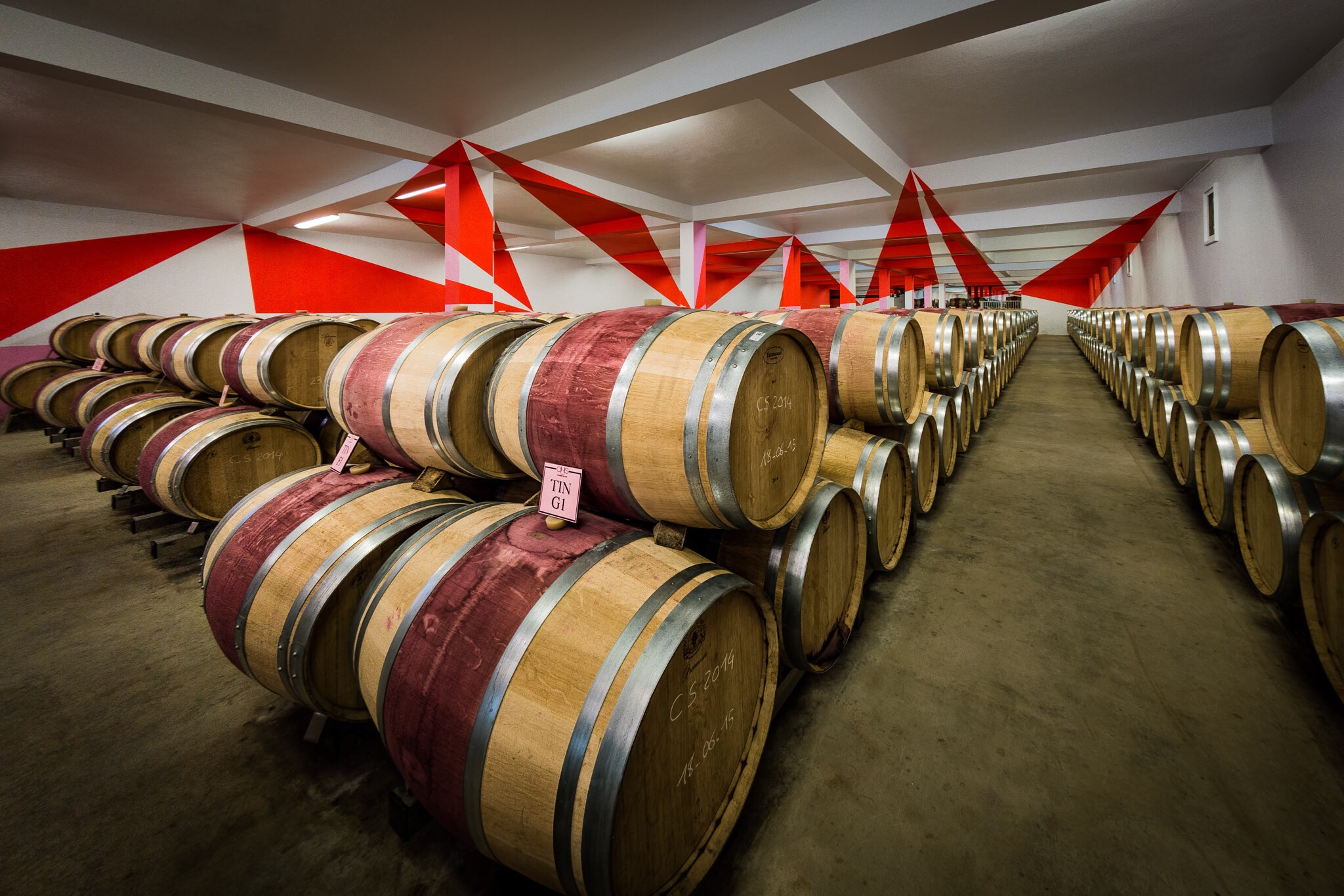 Barrels and art - Chateau Chasse-Spleen, Bordeaux, France