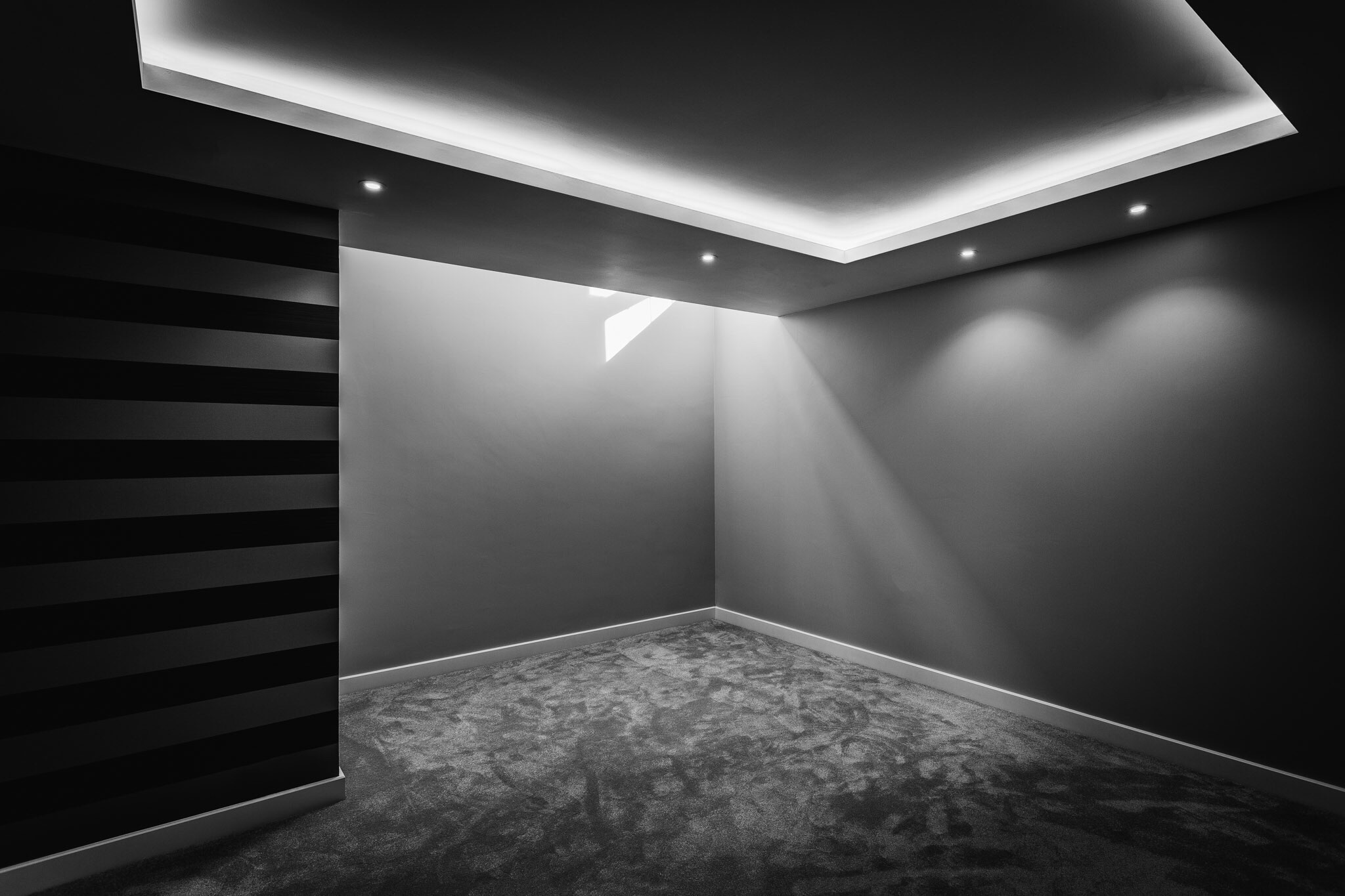 Black and white interior photography