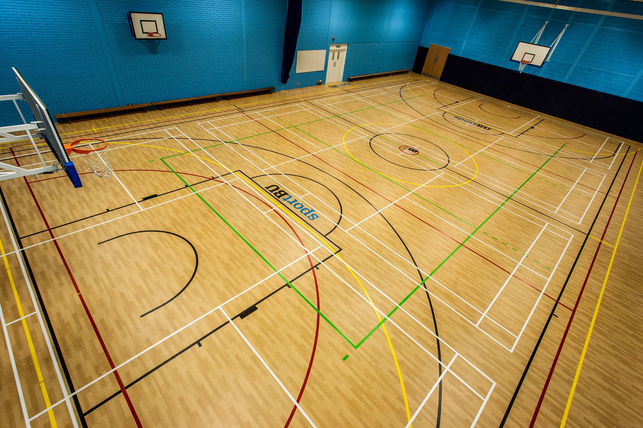 Picture of the new sports hall flooring at Bournemouth University