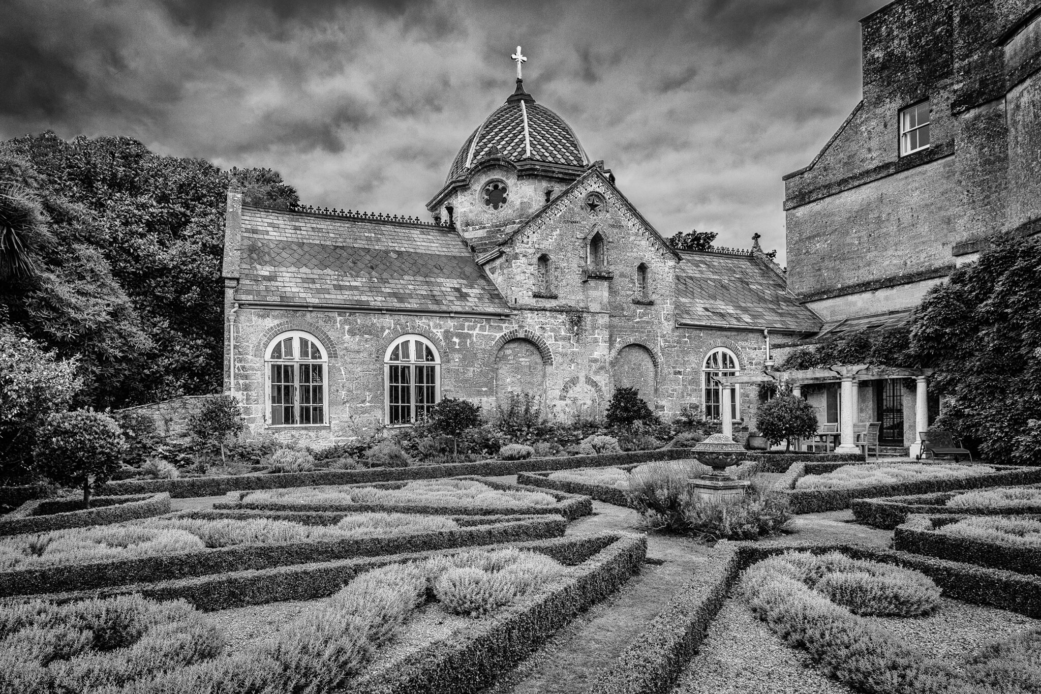 Black and white picture of Chideock Church - architectural photography in Dorset