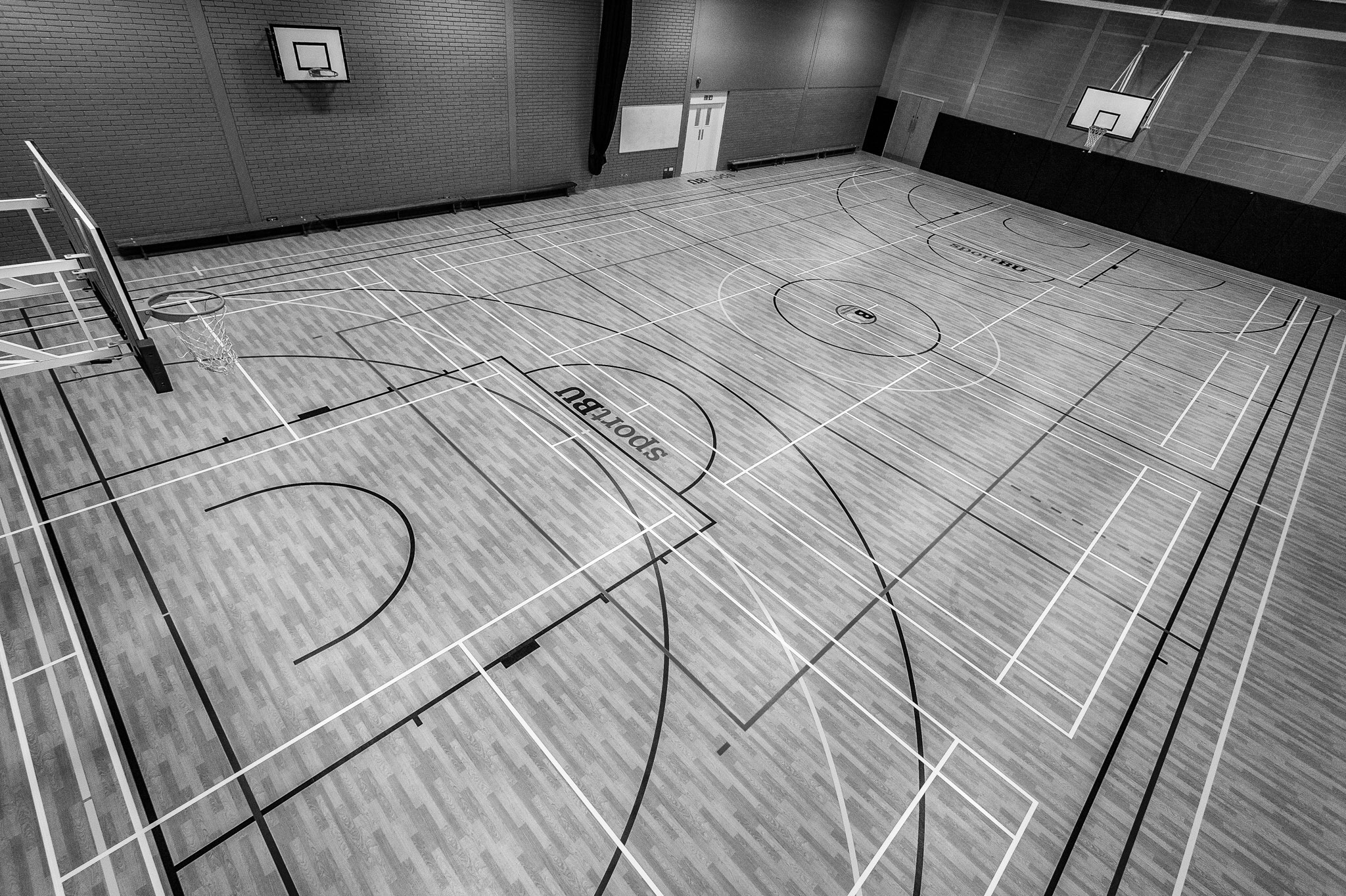 The new sports hall flooring at Bournemouth University