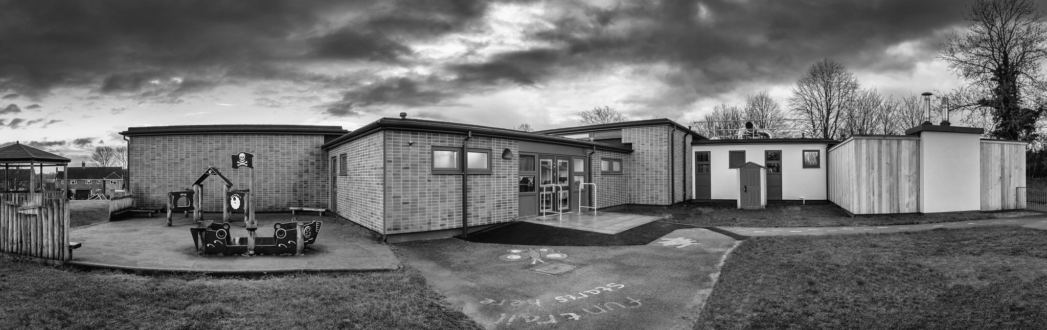 Barton Stacey School. Panoramic architectural photography in Hampshire.