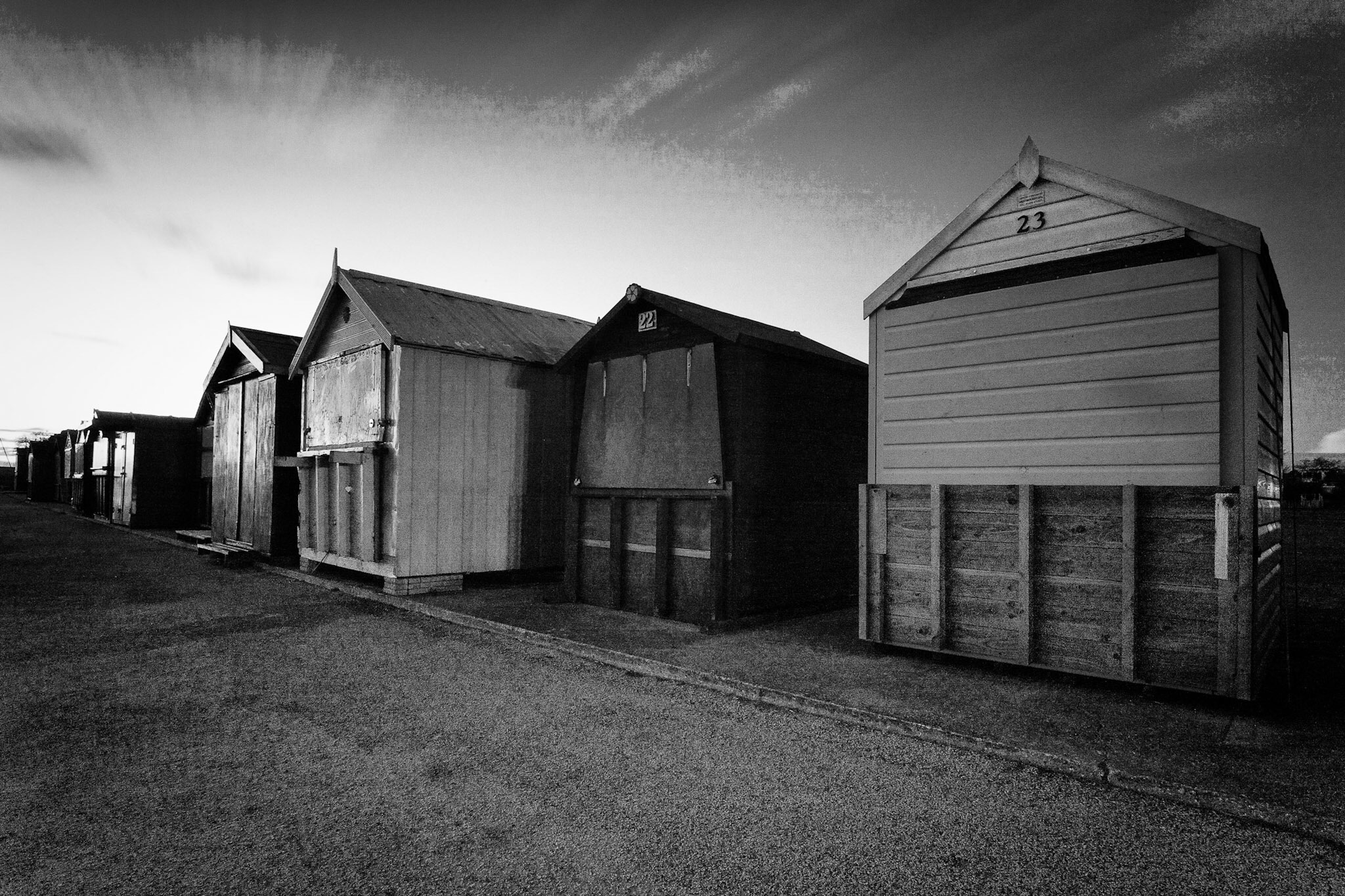 Image text - Hamworthy Beach Huts by Rick McEvoy Dorset Photographer