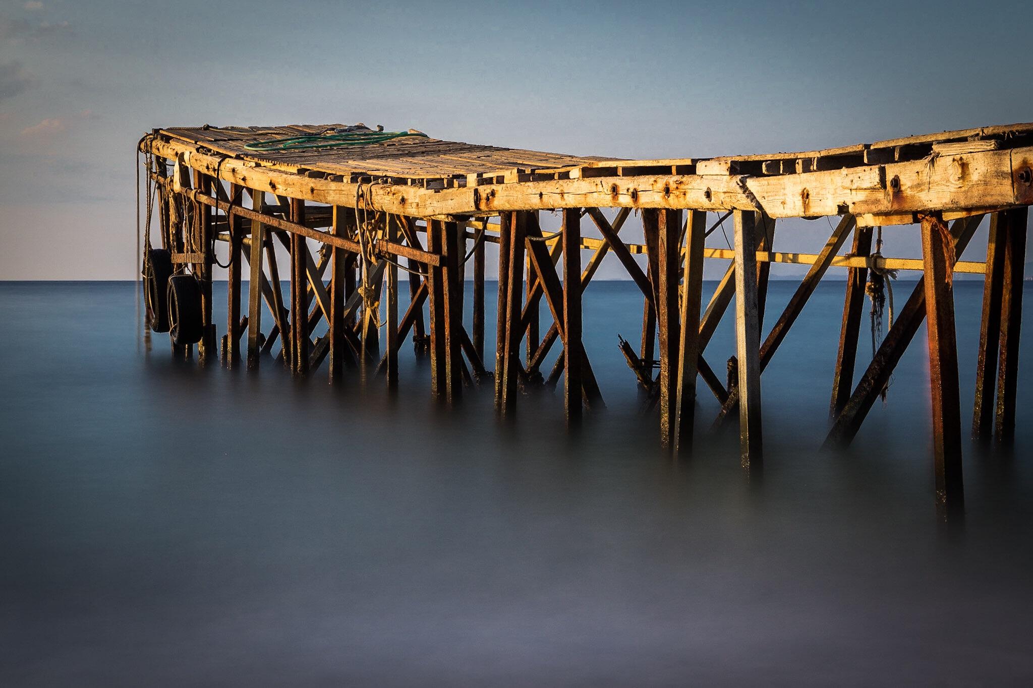 Picture of the jetty at Nissaki Beach in Corfu
